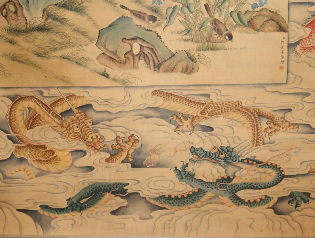 A Chinese Ink and Color Scrolling Painting Lang Shining - 9
