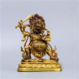 A Chinese Gold Gilt Bronze Mahākāla Buddha