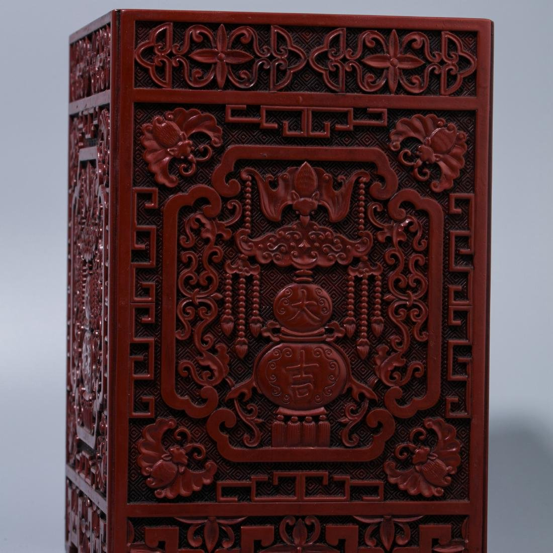 Chinese Lacquer Fu Lu carving  square brush holder - 3