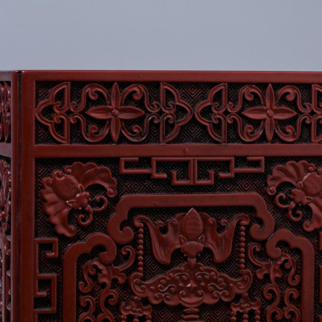 Chinese Lacquer Fu Lu carving  square brush holder - 4