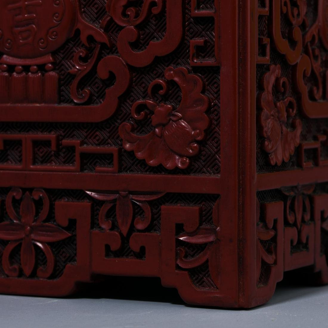 Chinese Lacquer Fu Lu carving  square brush holder - 6