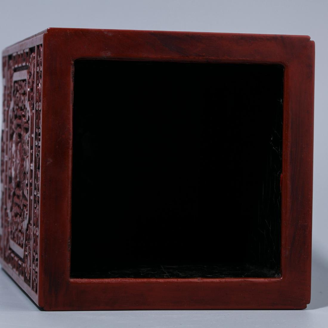 Chinese Lacquer Fu Lu carving  square brush holder - 9