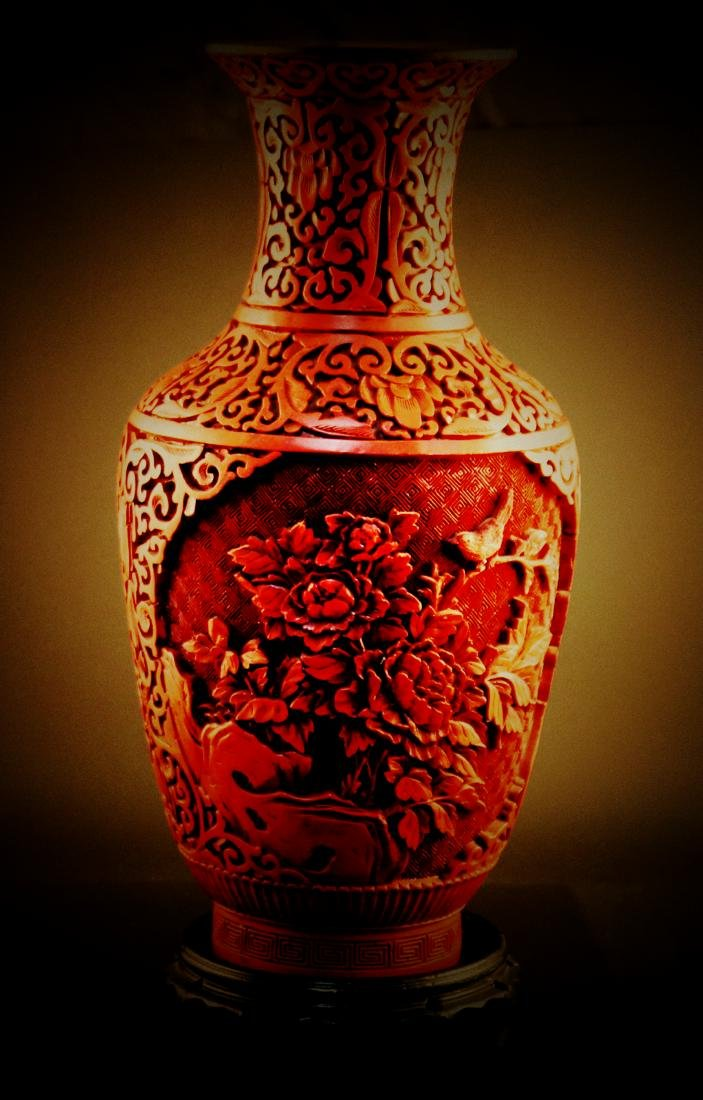 A Chinese carved cinnabar lacquer Vase