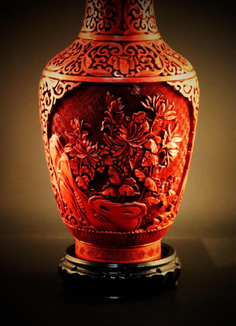 A Chinese carved cinnabar lacquer Vase - 5