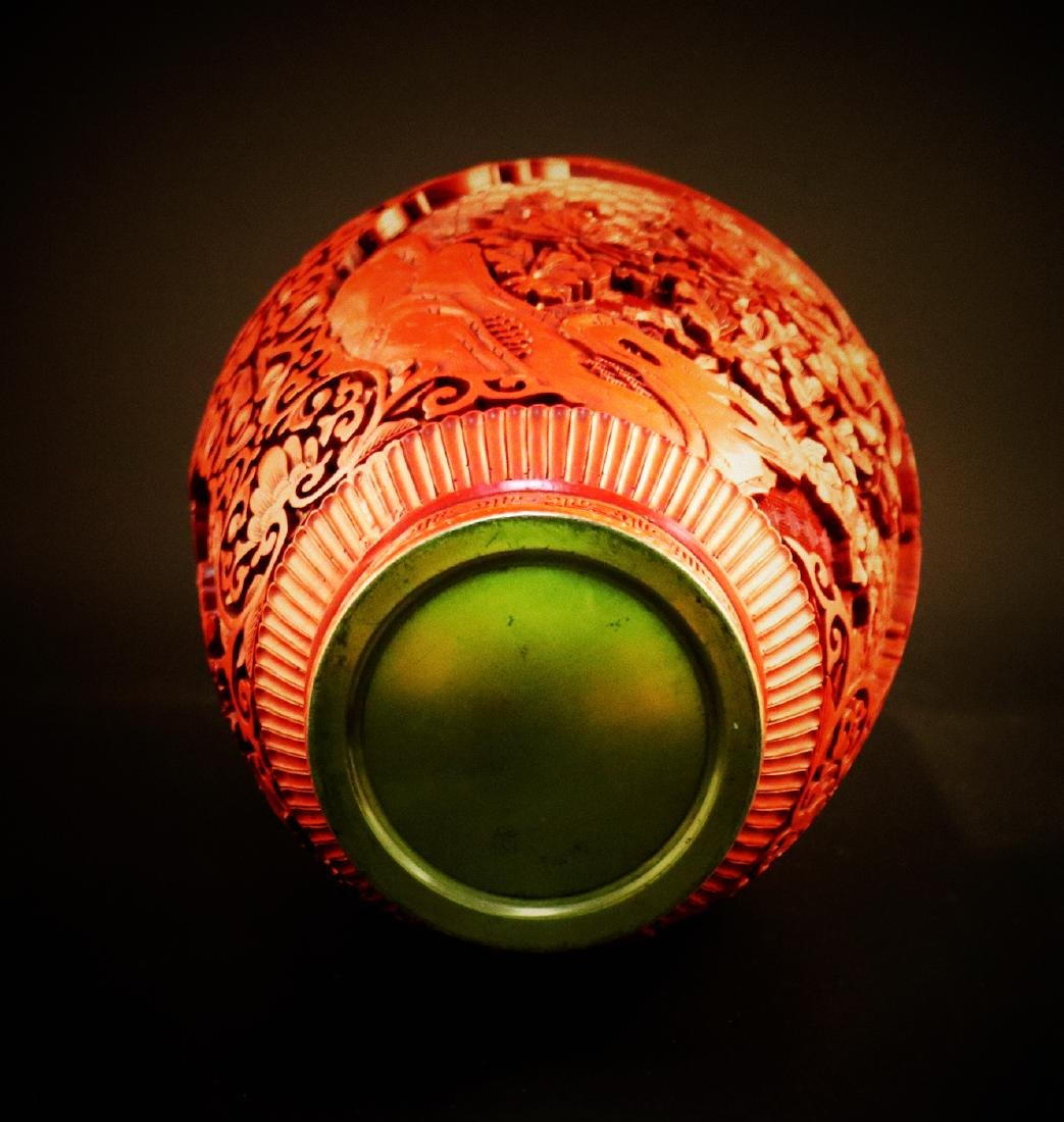 A Chinese carved cinnabar lacquer Vase - 7