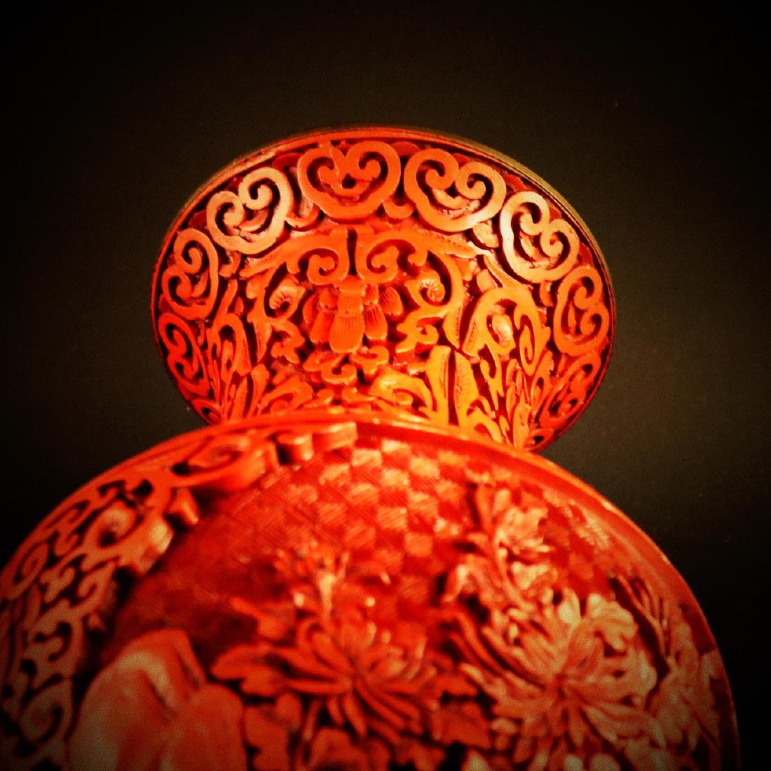 A Chinese carved cinnabar lacquer Vase - 8