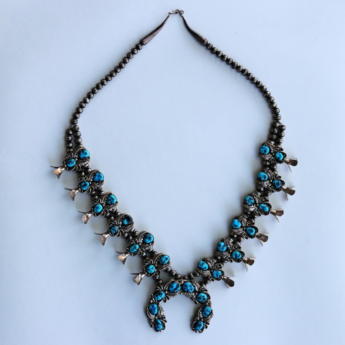 H.B.Y.Squash Blossom Necklace Sleeping Beauty Turquoise