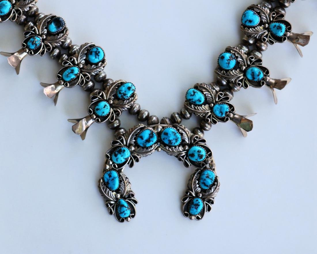 H.B.Y.Squash Blossom Necklace Sleeping Beauty Turquoise - 2