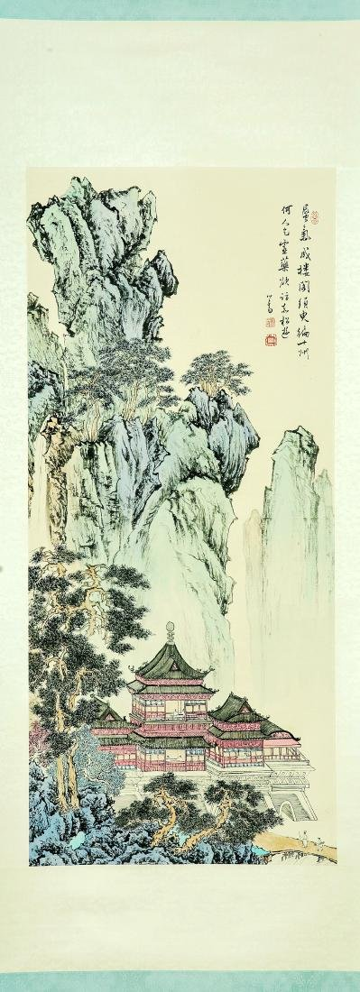 A Chinese Ink and Color Scrolling Painting, Pu Xinyu