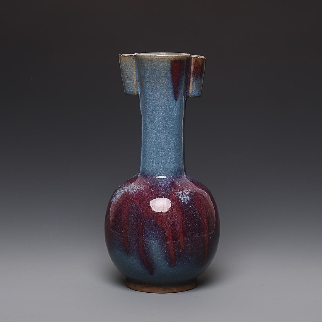 A Chinese Oxblood Flambe-Glazed Porcelain Vases
