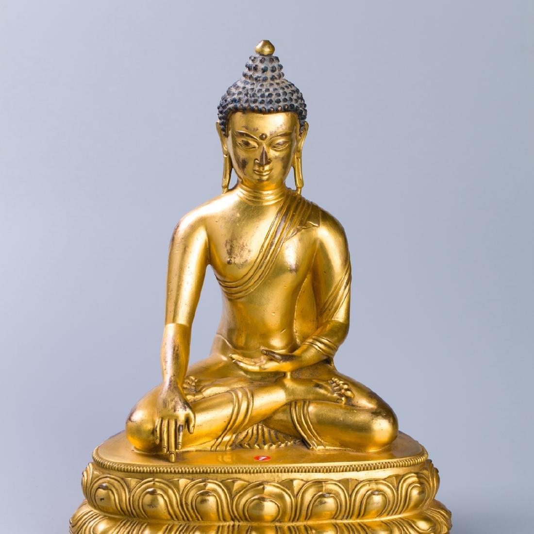 MING GILT BRONZE CROWNED SHAKYAMUNI BUDDHA - 2