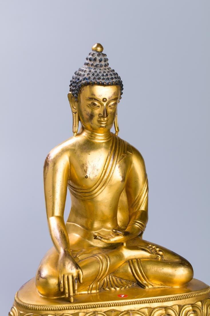 MING GILT BRONZE CROWNED SHAKYAMUNI BUDDHA - 4