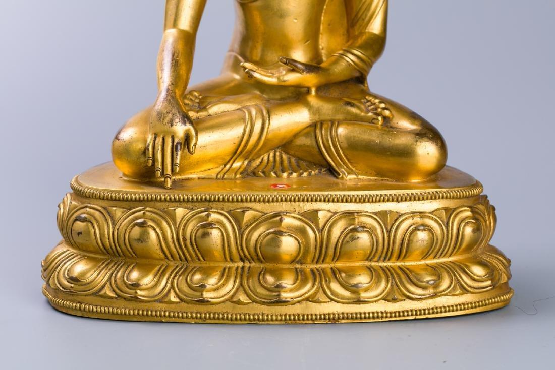 MING GILT BRONZE CROWNED SHAKYAMUNI BUDDHA - 6