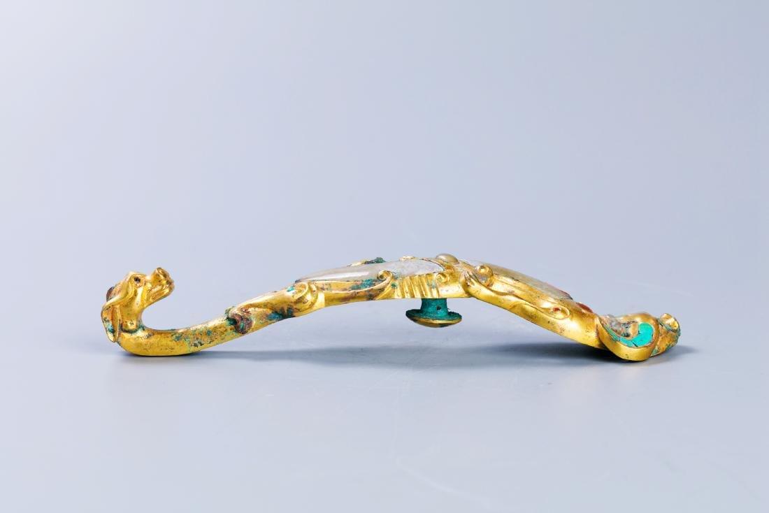 Gilt bronze hook Crawl Dragon inlaid jade gem belt buck - 9