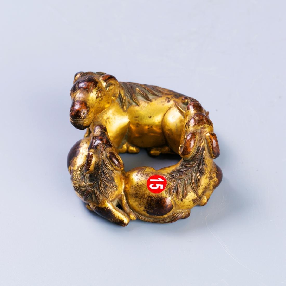 A Chinese Gilt Bronze Three sheep