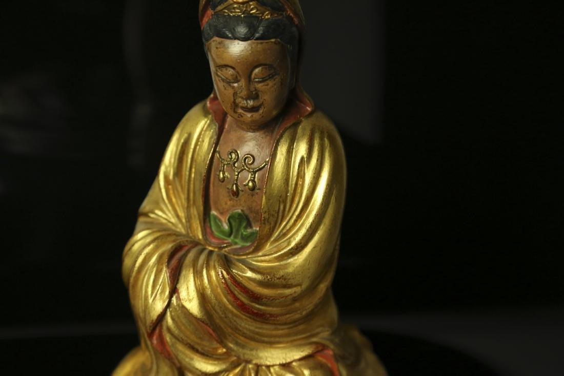 A CHINESE GILT BRONZE FIGURE OF BUDDHA - 3