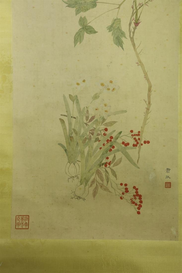 CHINESE SCROLL PAINTING OF FLOWER - 2