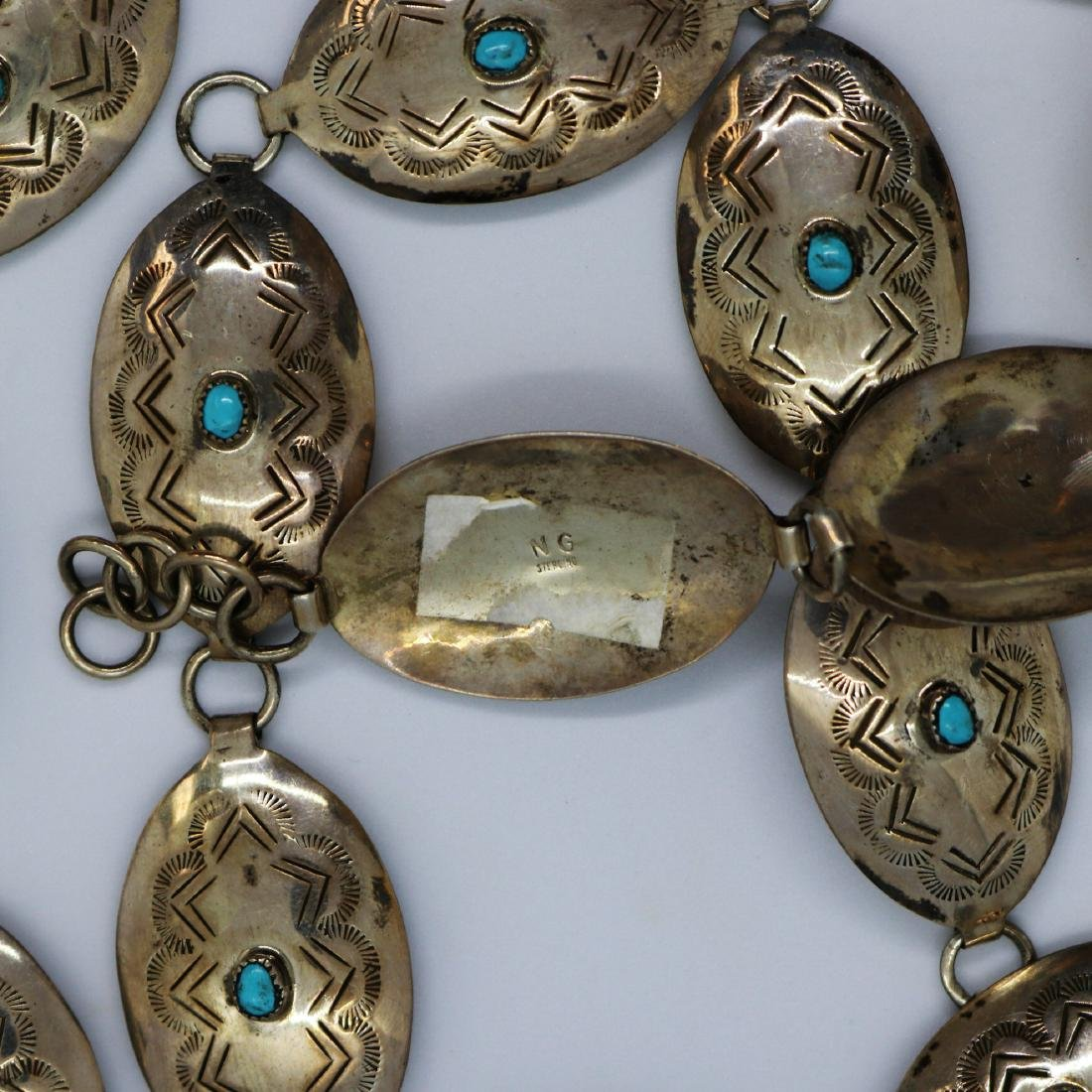 NATIVE AMERICAN TURQUOISE BELT SILVER - 2