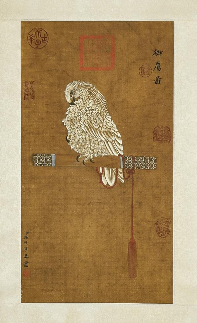 CHINESE SILK PAINTING SCROLL ATTRIBUTED TO  SHINI LANG