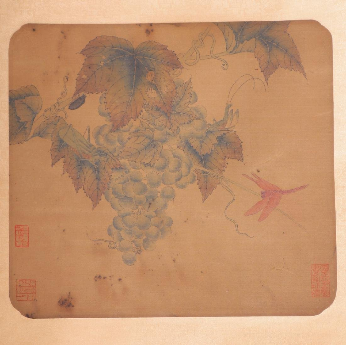 ANTIQUE  CHINESE SILK PAINTING SCROLL