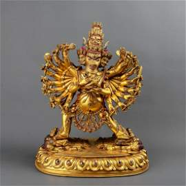 A CHINESE GILT BRONZE YAMANTAKA FIGURE