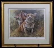 Two Corgi Dogs by Mick Cawston
