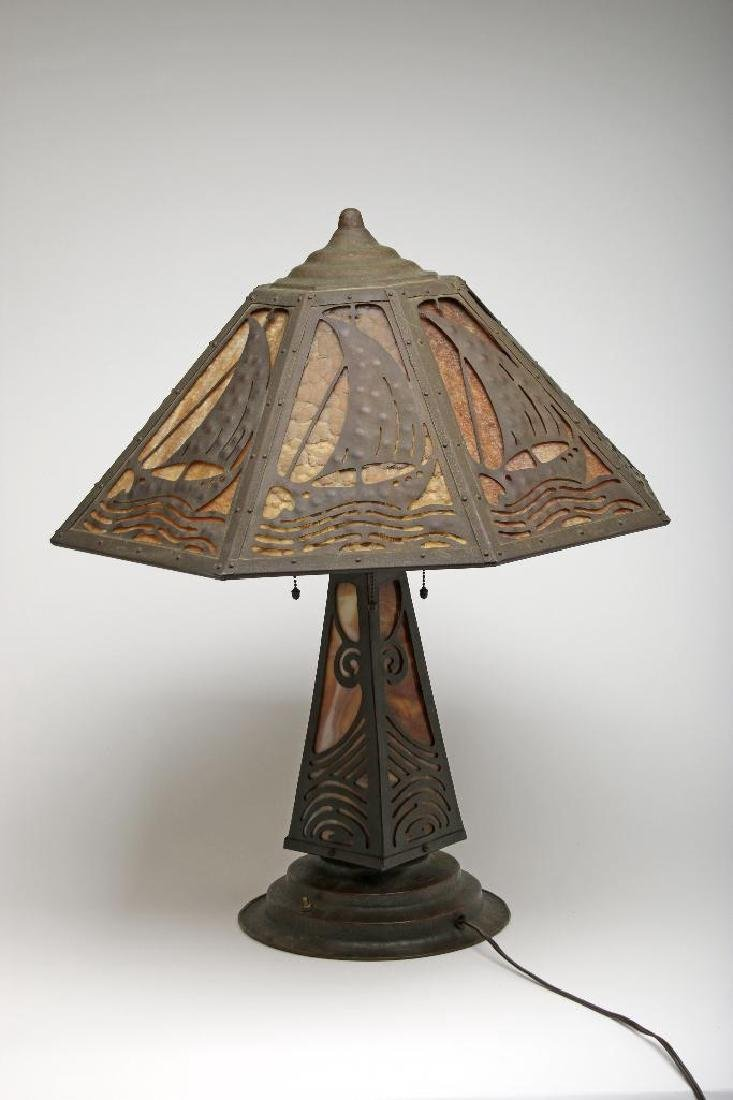 Arts and Crafts Copper and Glass Scenic Lamp
