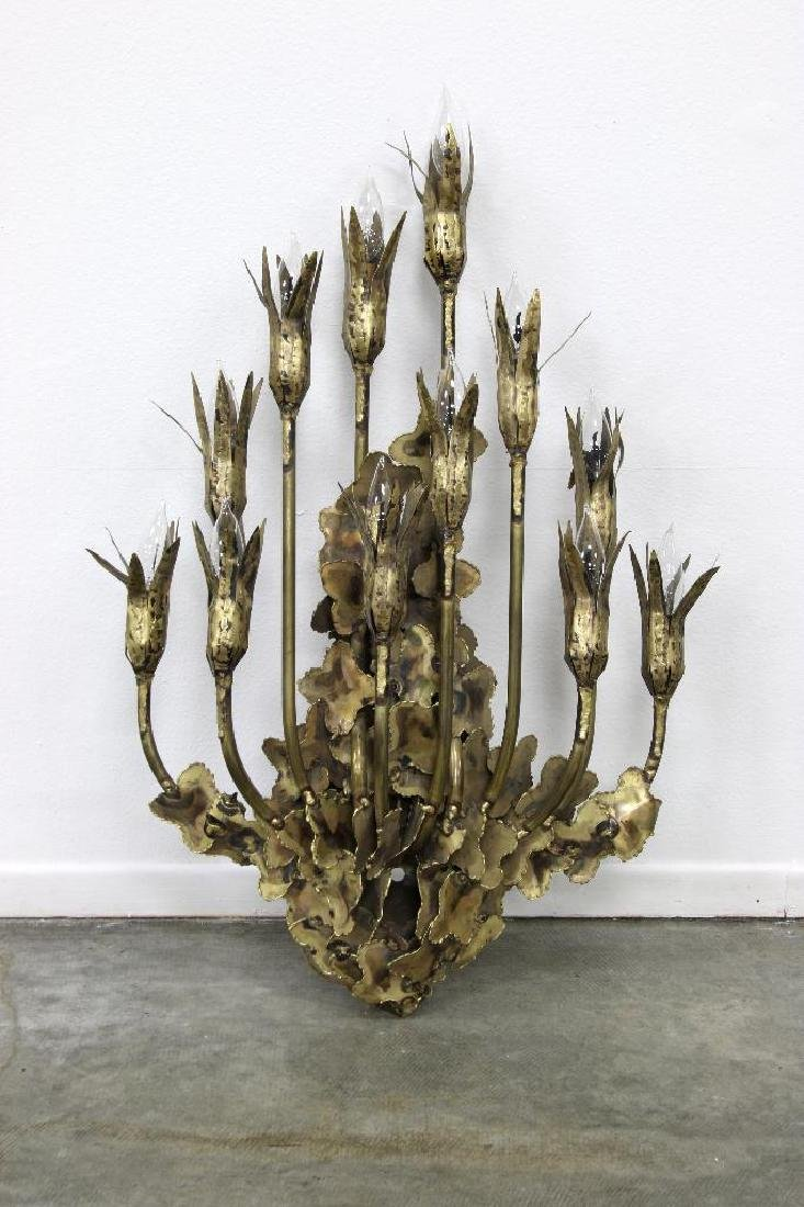 Brutalist Candelabra Sconce, Attributed to Tom Greene