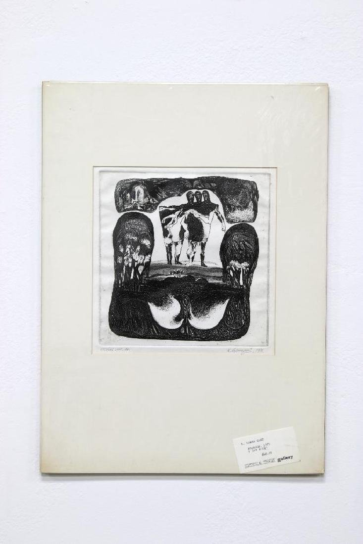 K. Laxma Goud (b. 1940) India Zinc Etching, 1971