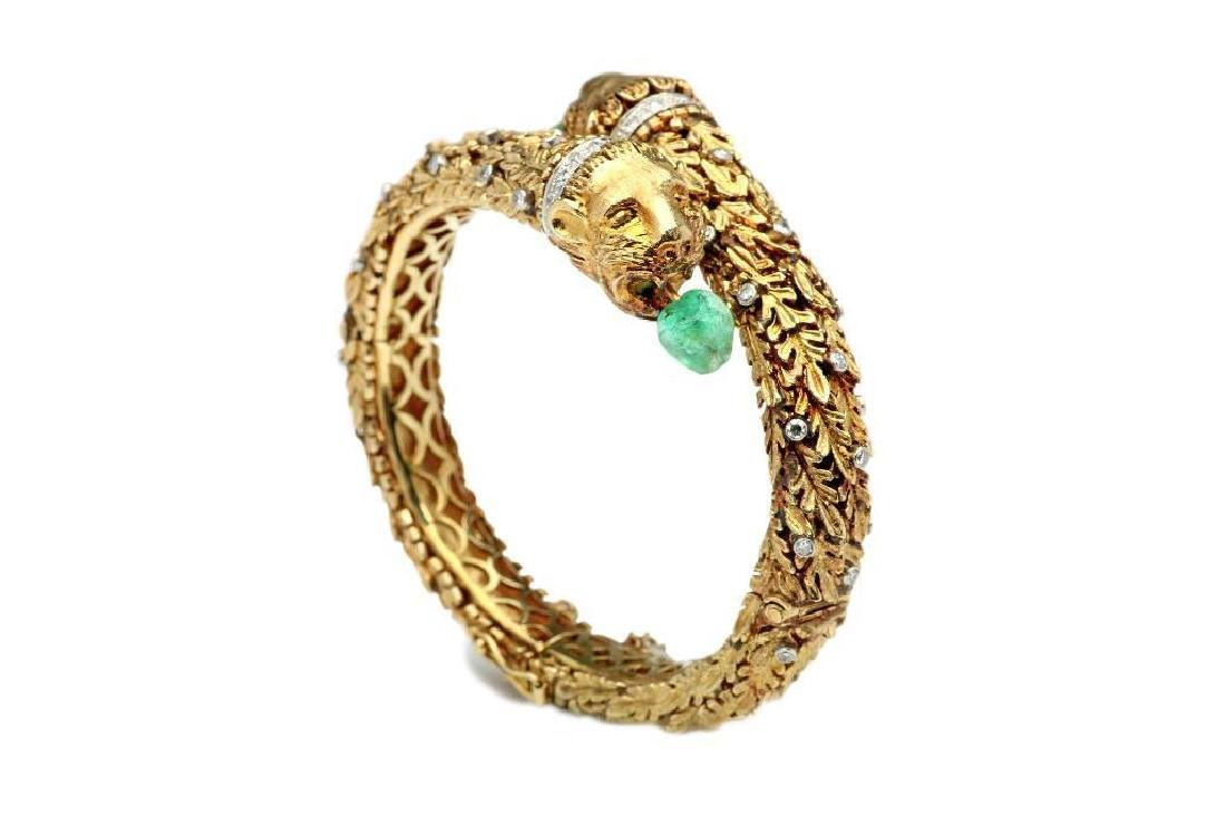 18K Yellow Lions Head Bangle with Emerald and Diamonds
