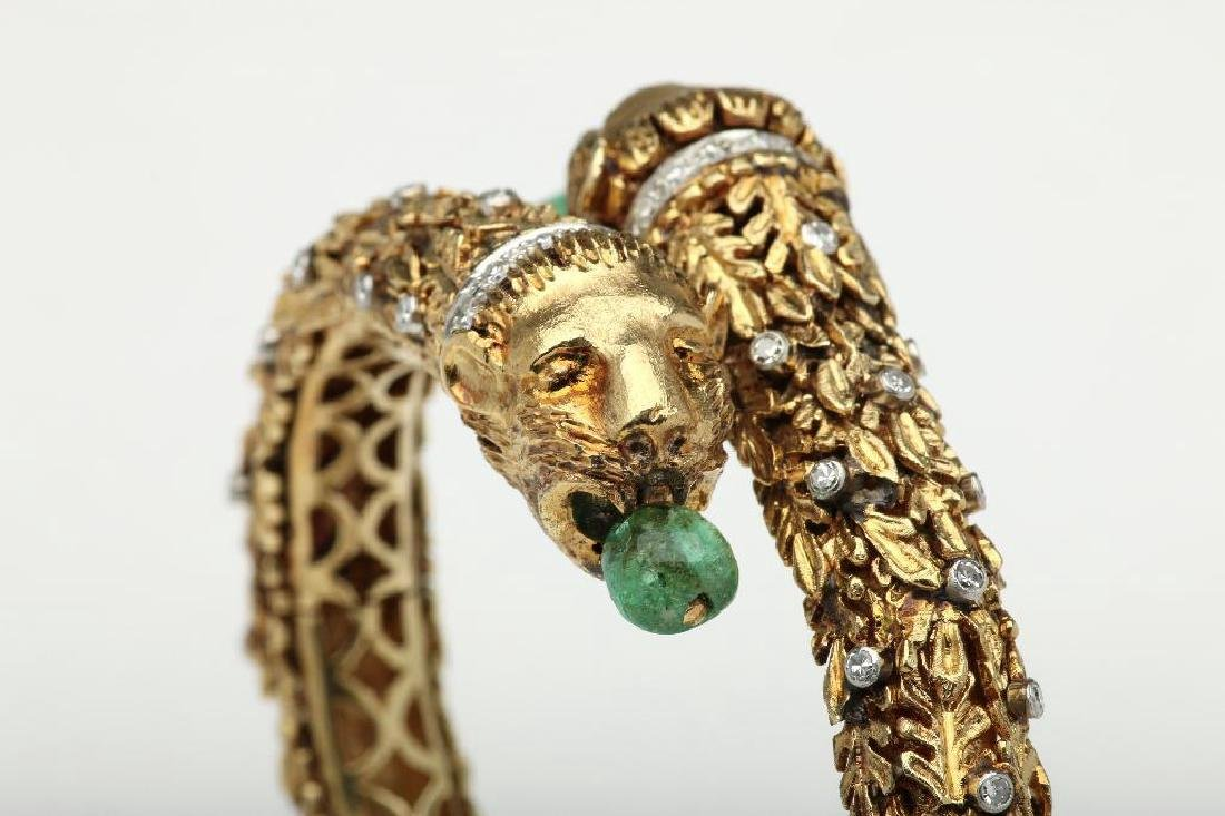 18K Yellow Lions Head Bangle with Emerald and Diamonds - 2