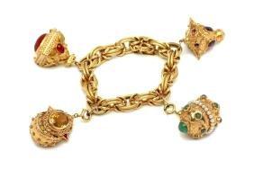 18K Yellow Gold Charm Bracelet w/ Semi-Precious Stones
