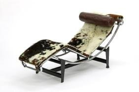 Le Corbusier Chaise Lounge Hair on Hide Upholstery