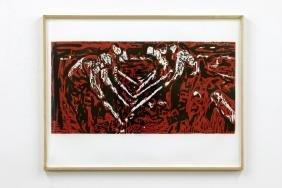 Roger Herman (b.1947) Fieldworkers Color Woodcut, 1984