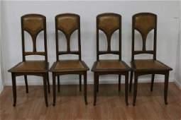 Art Nouveau Side Chairs Wood Leather Louis Majorelle