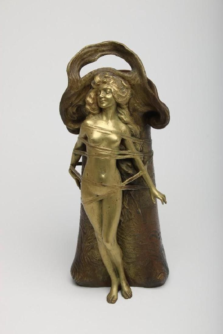 Carl Kauba Austrian Bronze Nude Figure Sculpture Vase