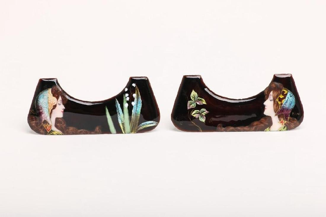 Pair Art Nouveau Enamel on Copper Portrait Elements