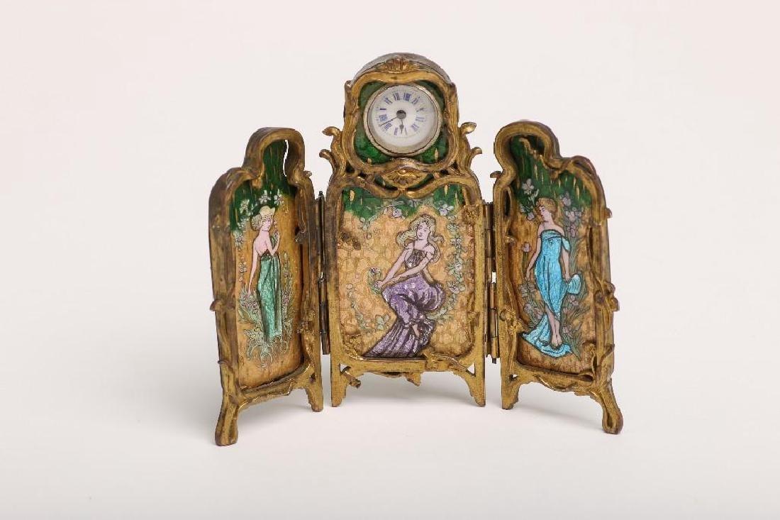 Art Nouveau Tri-fold Portrait Panel Vanity Desk Clock
