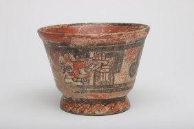 Pre Columbian Earthenware Polychrome Clay Vessel