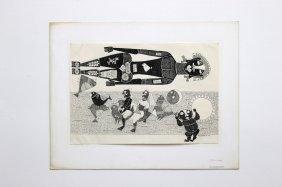 1972 J Sultan Ali Indian Artist Ink Drawing Pakshi Raja
