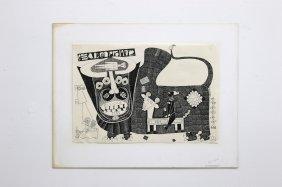 1970 J. Sultan Ali Indian Artist Original Ink Drawing