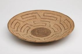 Large Pima Basketry Dish With Stepped Geometric Design