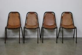 Charlotte Perriand Les Arcs French 1960s Leather Chairs