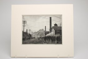 Martin Lewis Day's End Drypoint Etching Pencil Signed