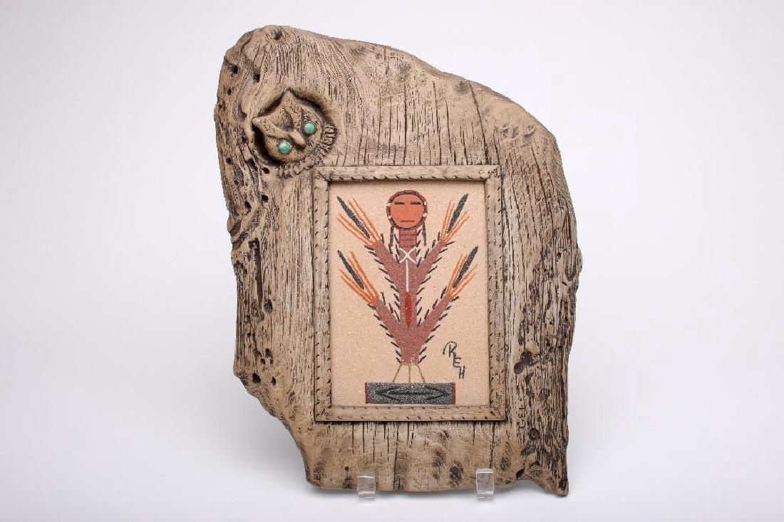 Navajo Sand Painting Roselyn Howe Wood Owl Frame