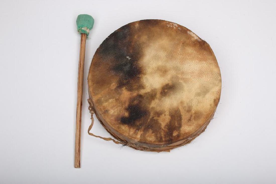 Tarahumara Mexico Rawhide Indian Drum - 4