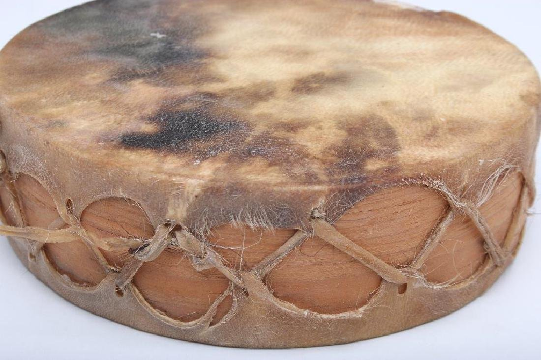 Tarahumara Mexico Rawhide Indian Drum - 5
