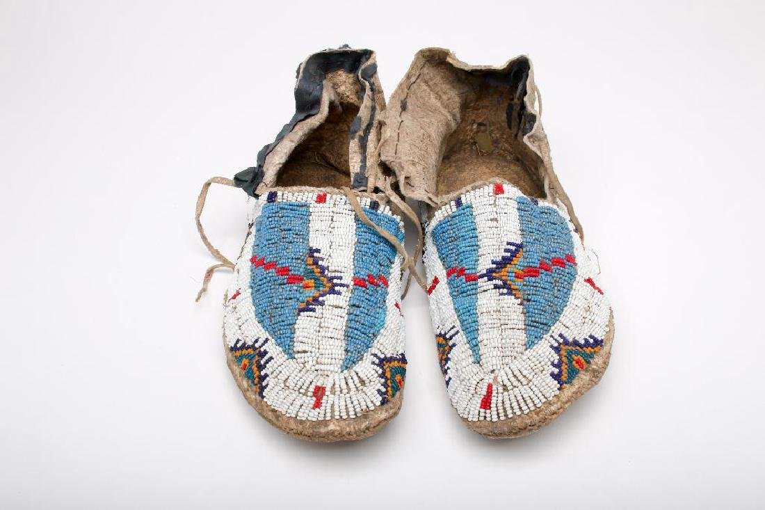 Native American Beaded Leather Moccasins Adult Blue