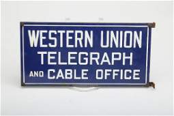 Metal Enamel Western Union Telegraph Cable Office Sign