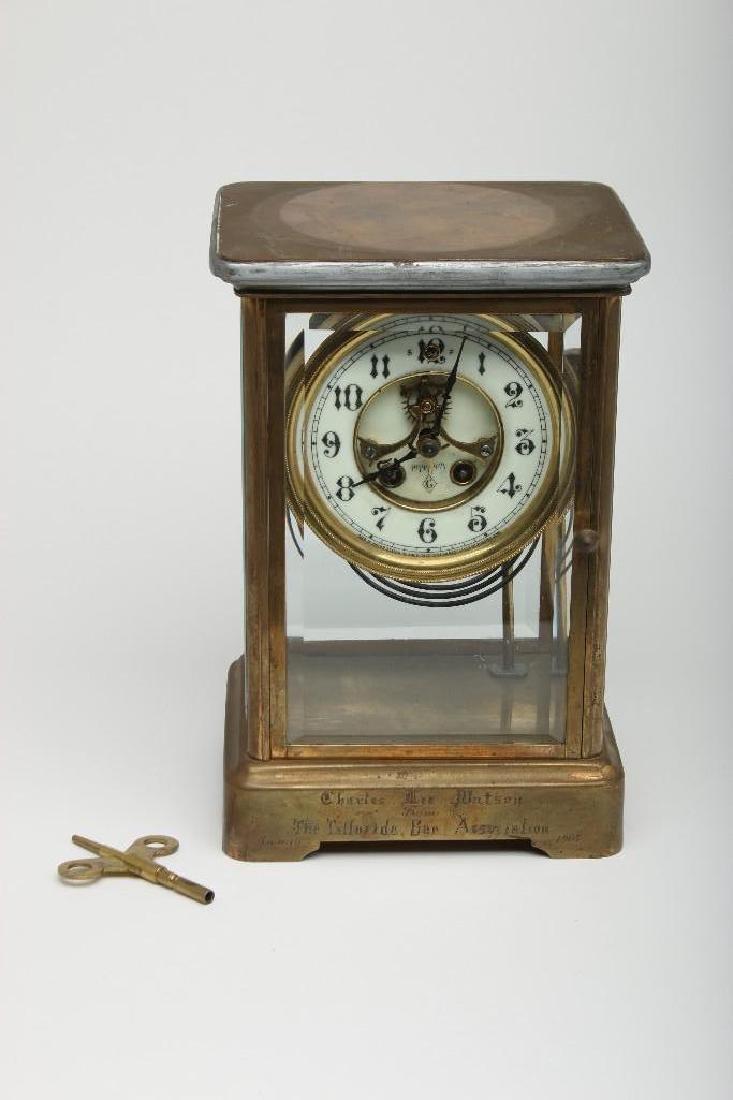 Antique Gilbert Brass Crystal Regulator Mantle Clock